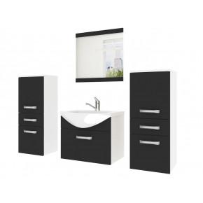 Kalustekokonaisuus kylpyhuoneelle, keraaminen allas + peili, musta