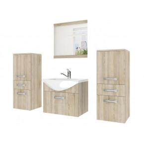 Kalustekokonaisuus kylpyhuoneelle, keraaminen allas + peili, sonoma